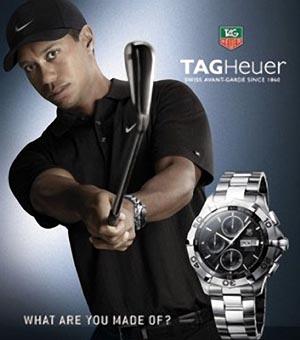 a9eebb28eb7 Todos os revendedores da marca de relógios suíços Tag Heuer removeram a  publicidade de dentro de suas lojas onde Tiger Woods aparecia (foto).