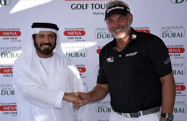 Darren Clarke, Patron of the MENA Golf Tour, with Mohamed Juma Buamaim, chairman of the tour
